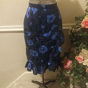 EU Vintage 80's Raul Blanco Blue/Black Silk Skirt